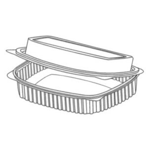 Somoplast Clear Hinged Lid Rectangular Salad Containers - 450cc