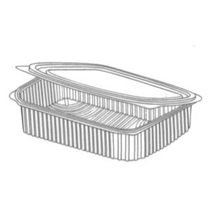 Somoplast Clear Hinged Lid Rectangular Salad Containers - 500cc / 600cc